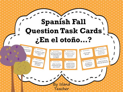 Spanish Fall Question Task Cards Speaking or Writing Activity