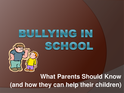 Bullying in School PowerPoint What Parents Should Know