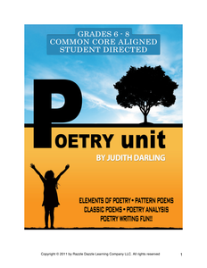 Interactive Poetry Unit for grades 6 - 8, CC aligned, student graded