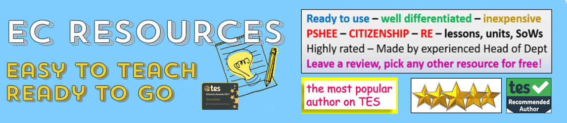 PSHE, Citizenship, RE, Whole School, SMSC Teaching Resources